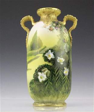 Nippon Hand Painted, Gilt Decorated Landscape Vase