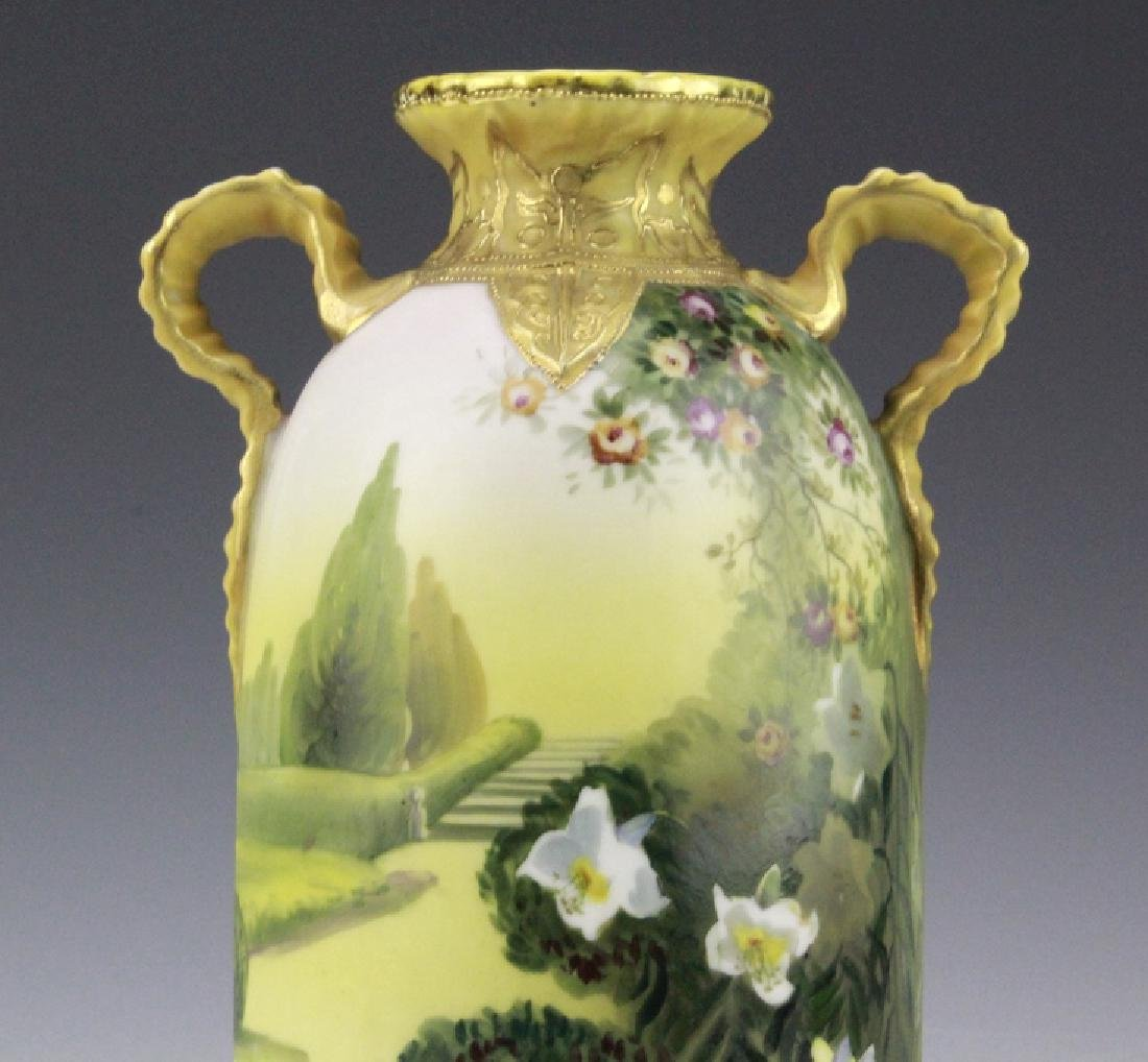 Nippon Hand Painted, Gilt Decorated Landscape Vase - 8