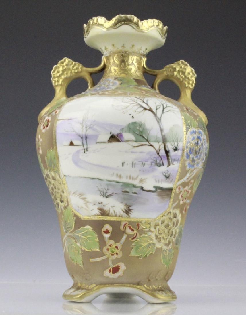 Nippon Painted Winter Landscape Footed Porcelain Vase