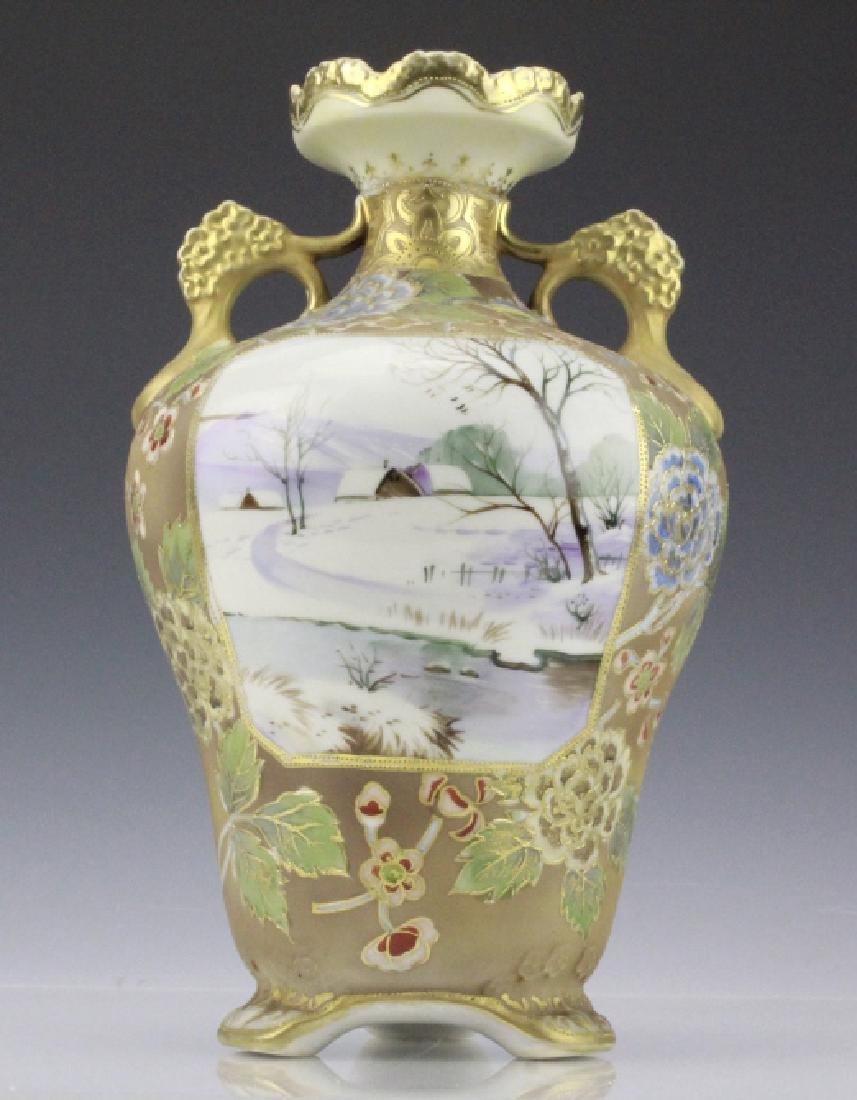 Nippon Painted Winter Landscape Footed Porcelain Vase