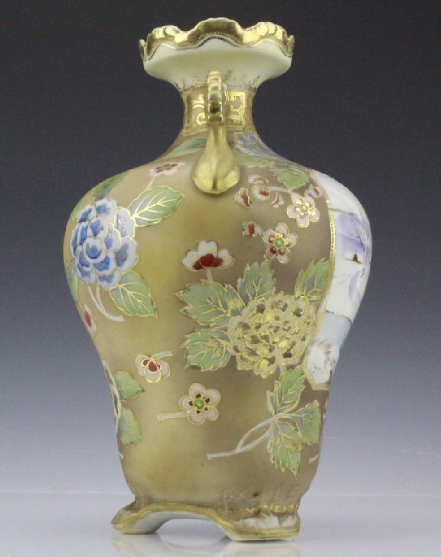 Nippon Painted Winter Landscape Footed Porcelain Vase - 2
