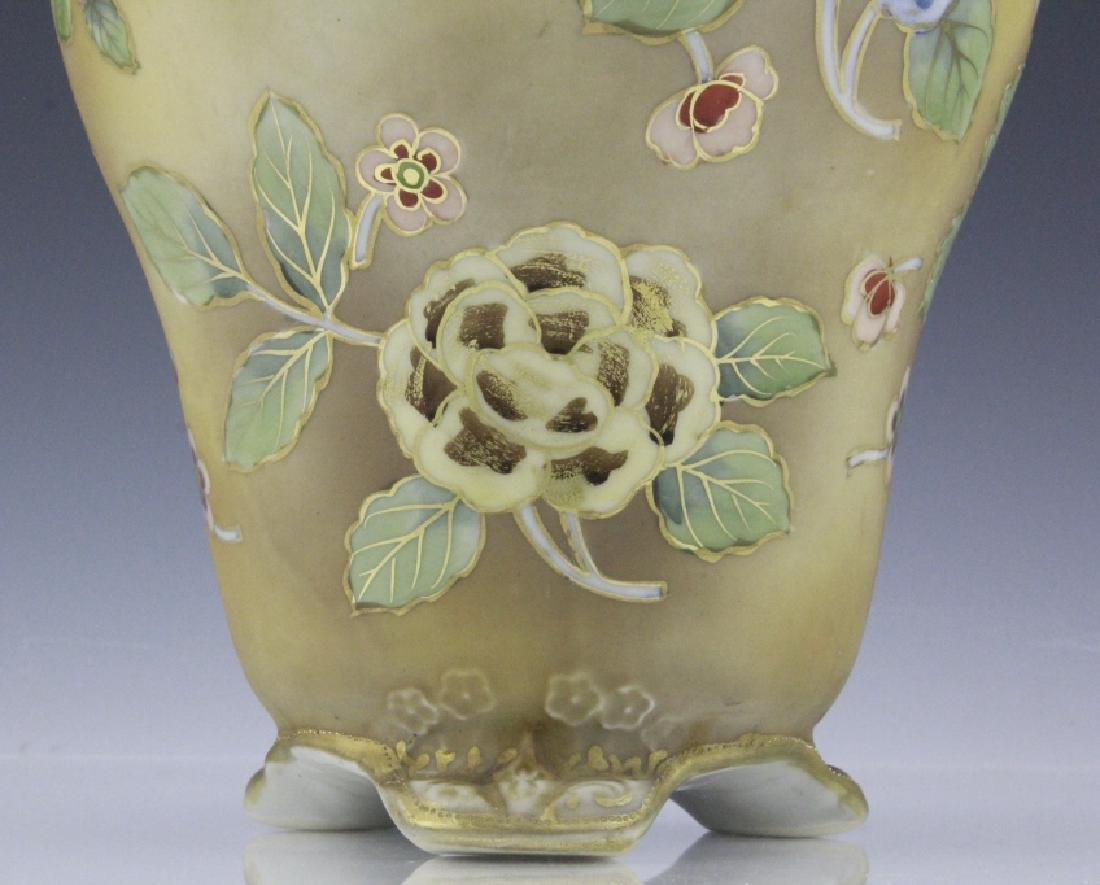 Nippon Painted Winter Landscape Footed Porcelain Vase - 3