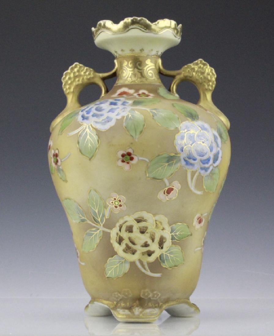 Nippon Painted Winter Landscape Footed Porcelain Vase - 4