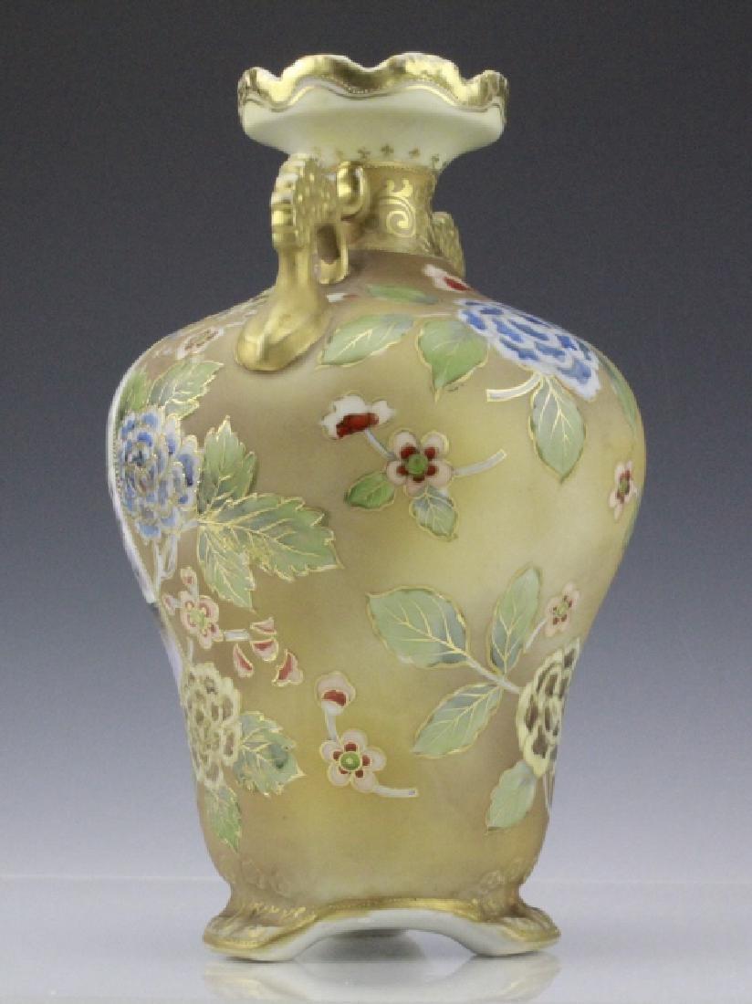 Nippon Painted Winter Landscape Footed Porcelain Vase - 6