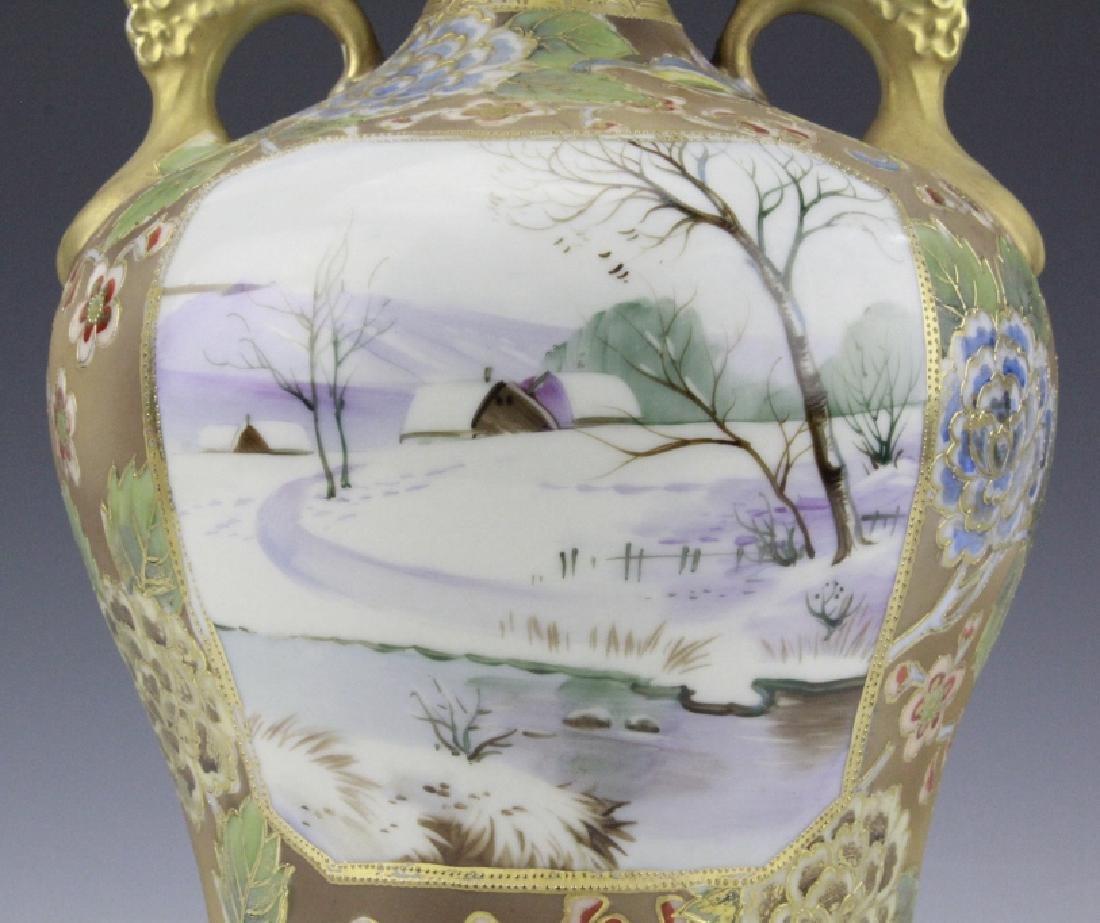Nippon Painted Winter Landscape Footed Porcelain Vase - 7