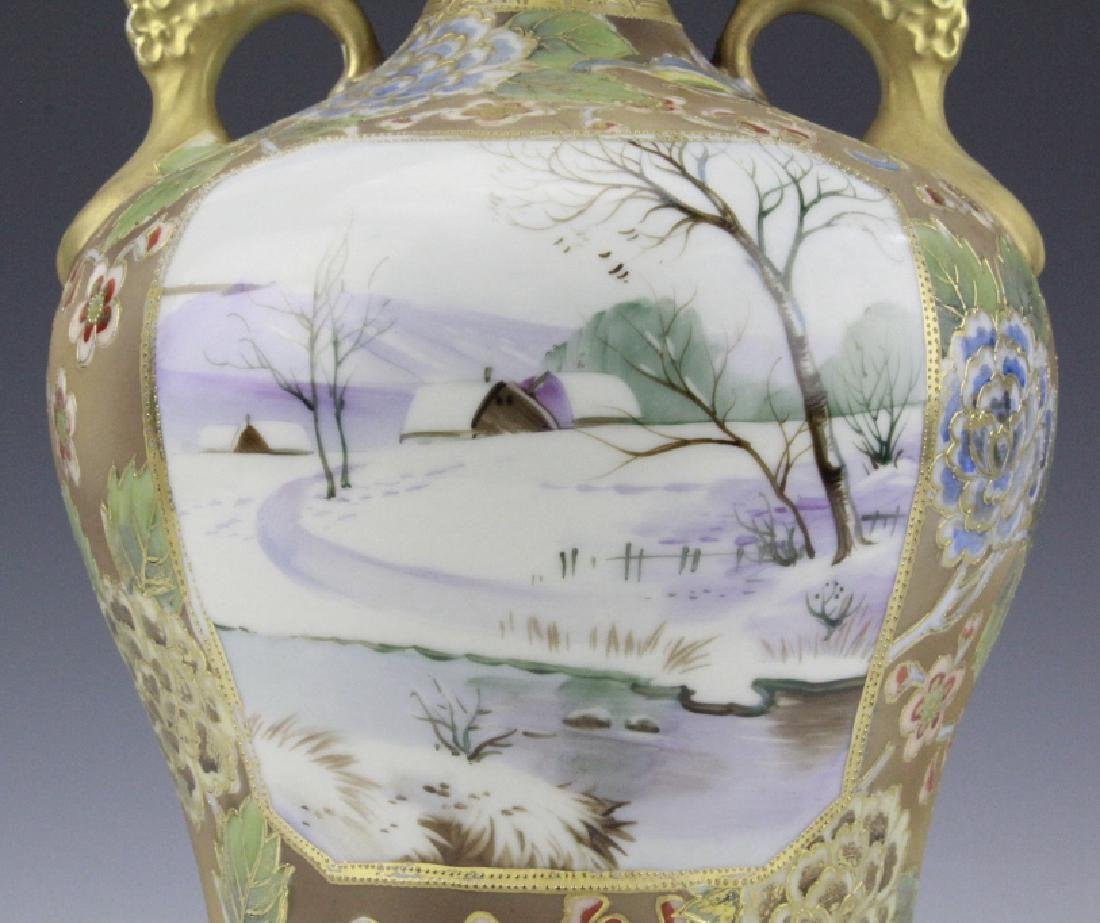 Nippon Painted Winter Landscape Footed Porcelain Vase - 7