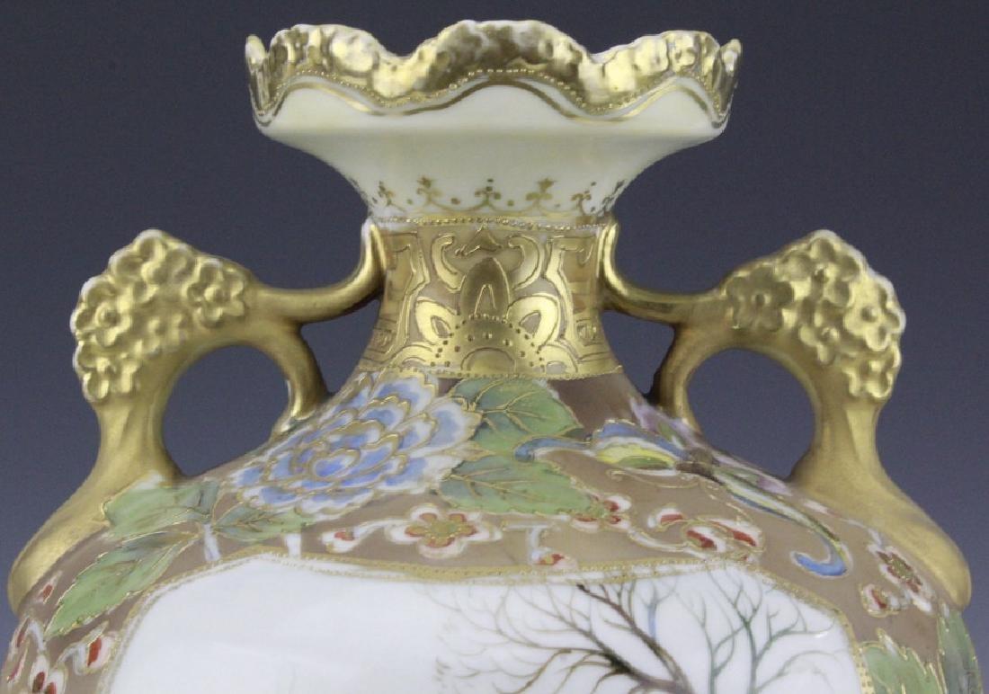 Nippon Painted Winter Landscape Footed Porcelain Vase - 8