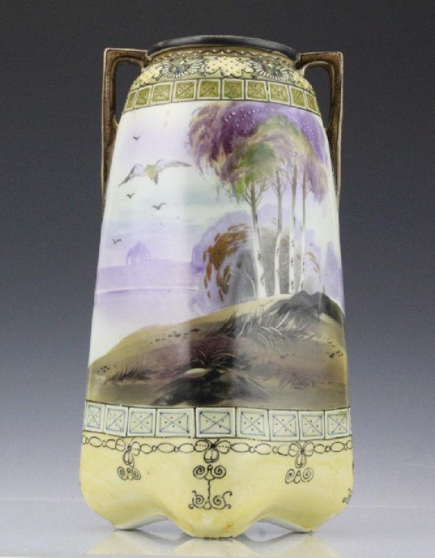 Antique Nippon Painted Landscape Footed Porcelain Vase