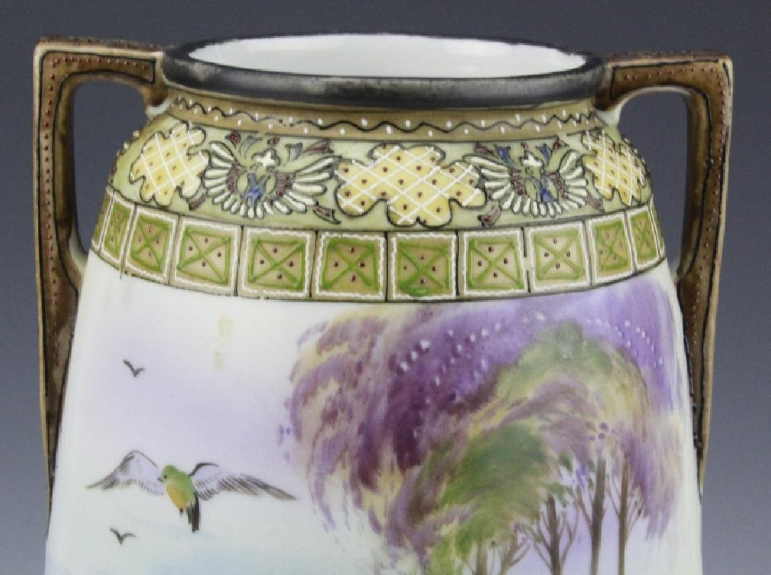 Antique Nippon Painted Landscape Footed Porcelain Vase - 8