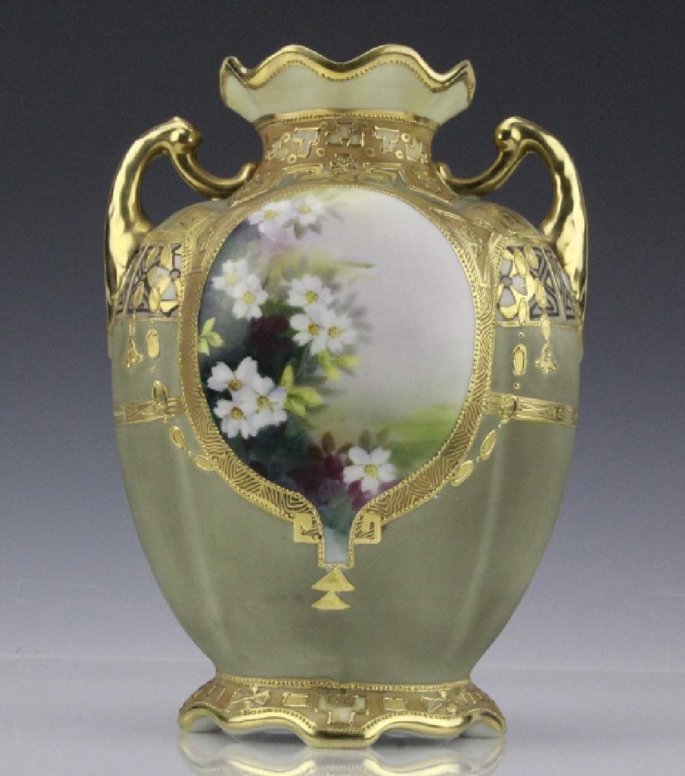 Antique Nippon Painted & Gilt Gourd Form Porcelain Vase