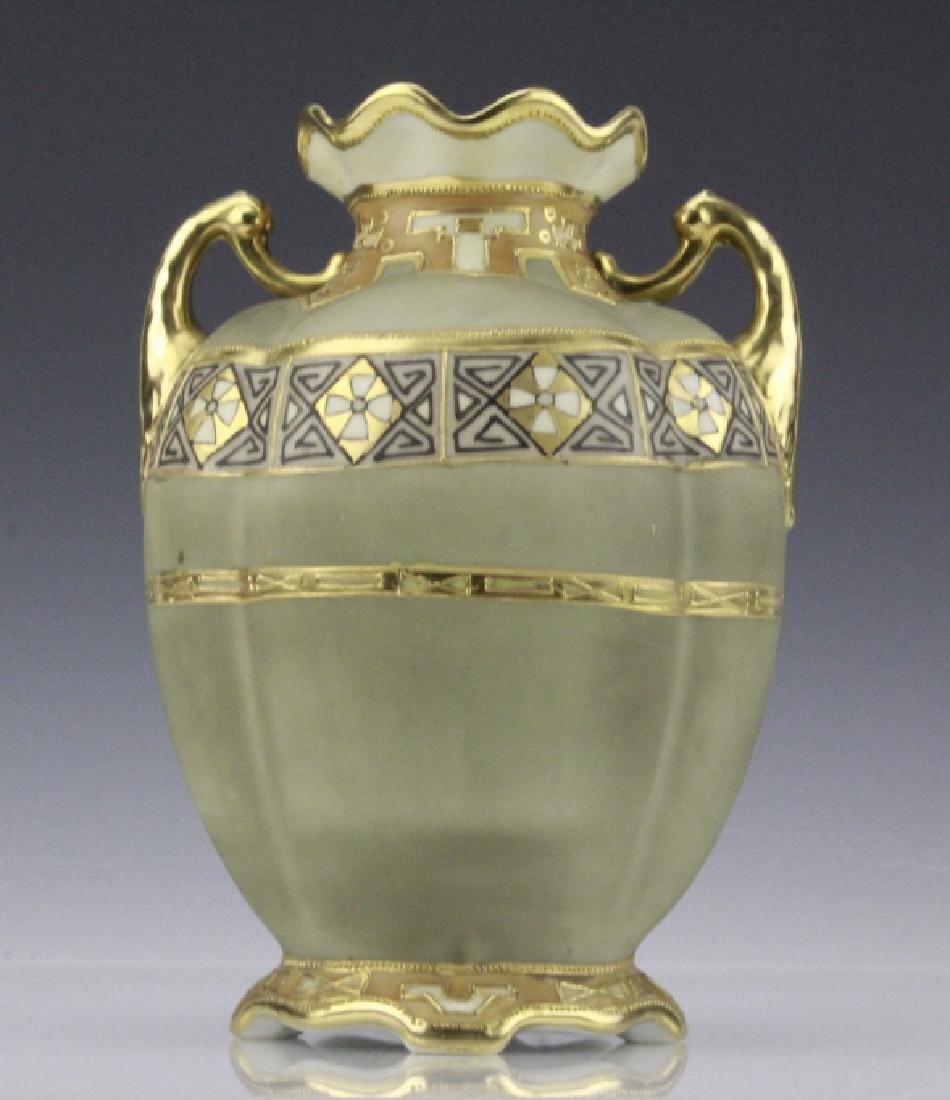Antique Nippon Painted & Gilt Gourd Form Porcelain Vase - 2