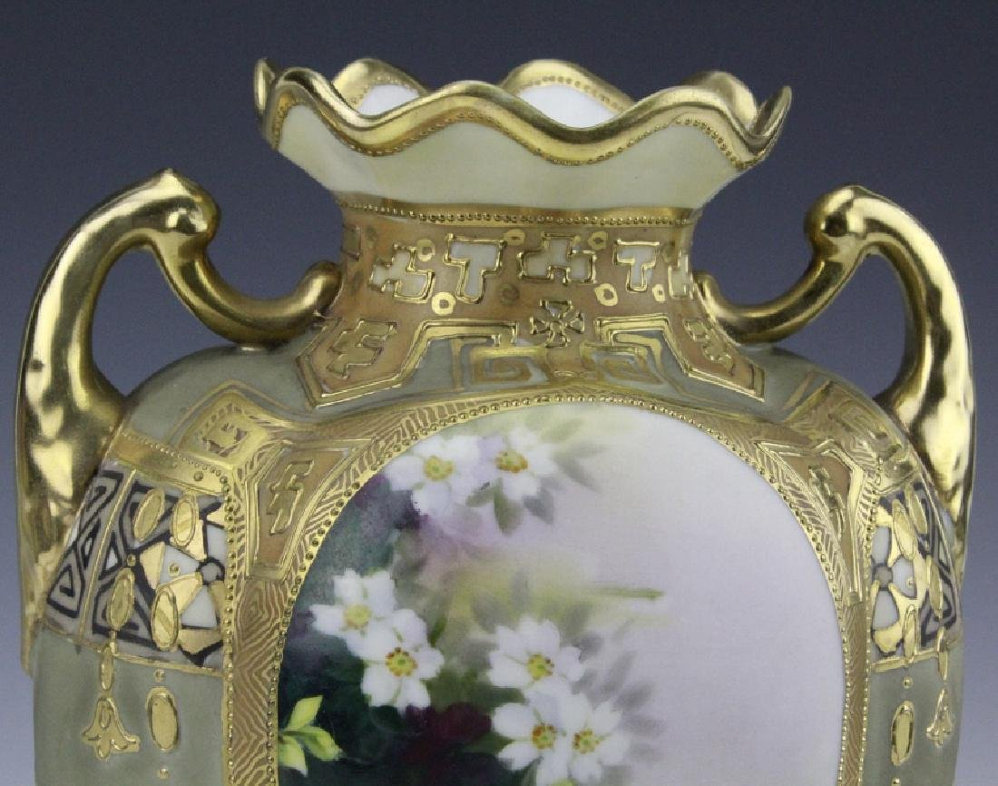Antique Nippon Painted & Gilt Gourd Form Porcelain Vase - 6