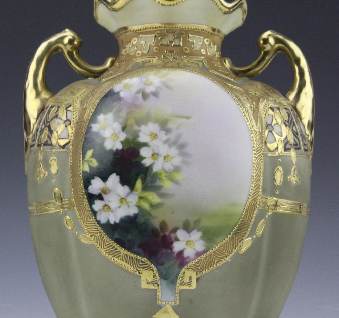 Antique Nippon Painted & Gilt Gourd Form Porcelain Vase - 8