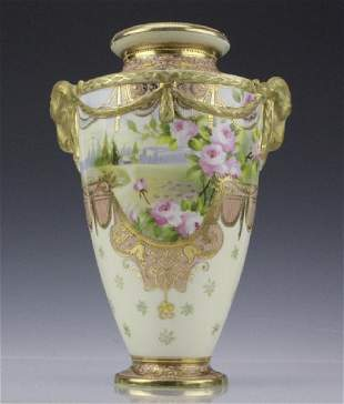 Antique Nippon Floral Gilt Decorated Urn Porcelain Vase