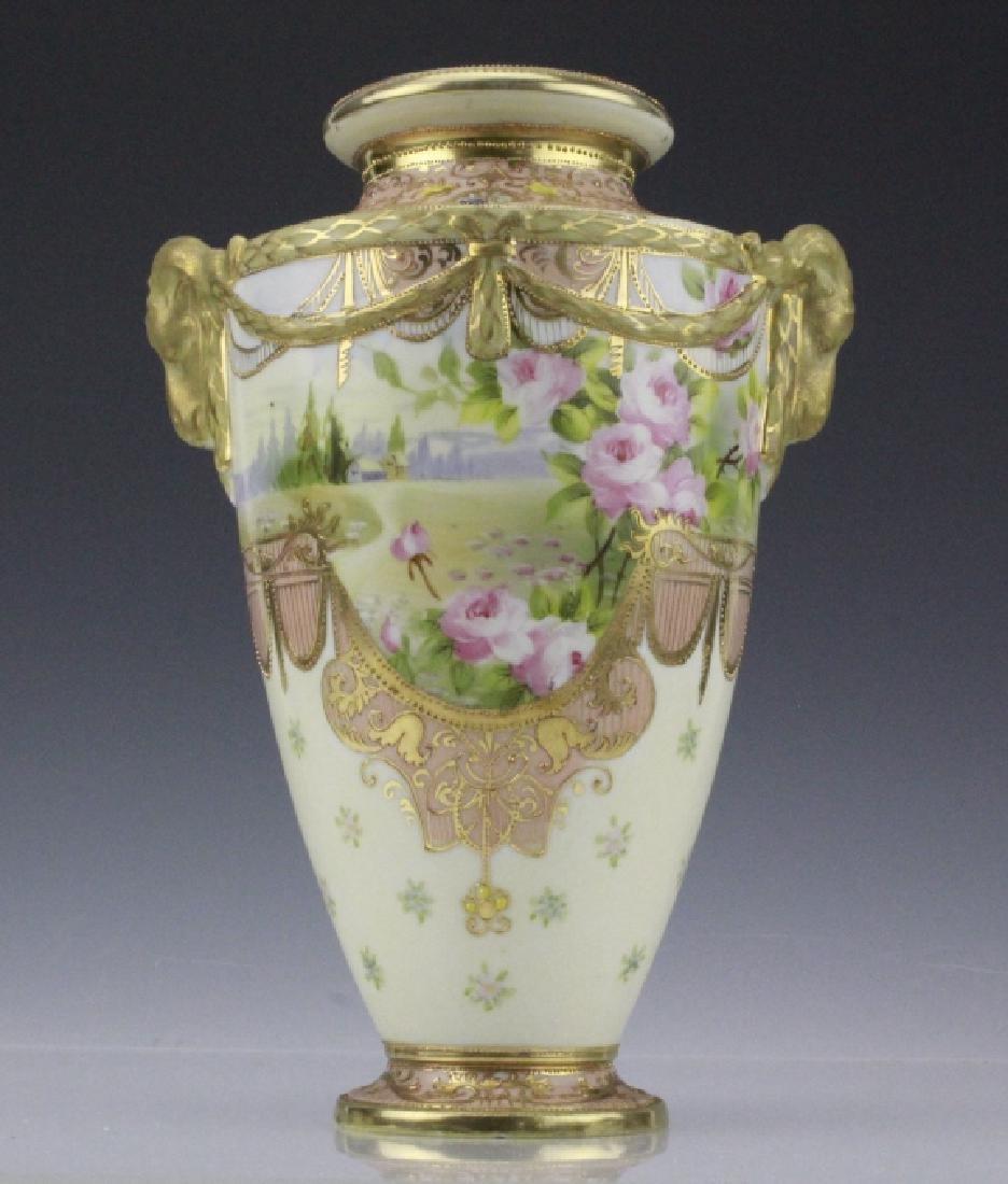Antique Nippon Floral Gilt Decorated Urn Porcelain Vase