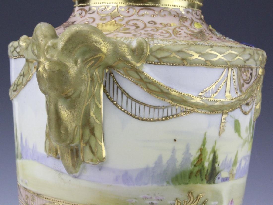 Antique Nippon Floral Gilt Decorated Urn Porcelain Vase - 2