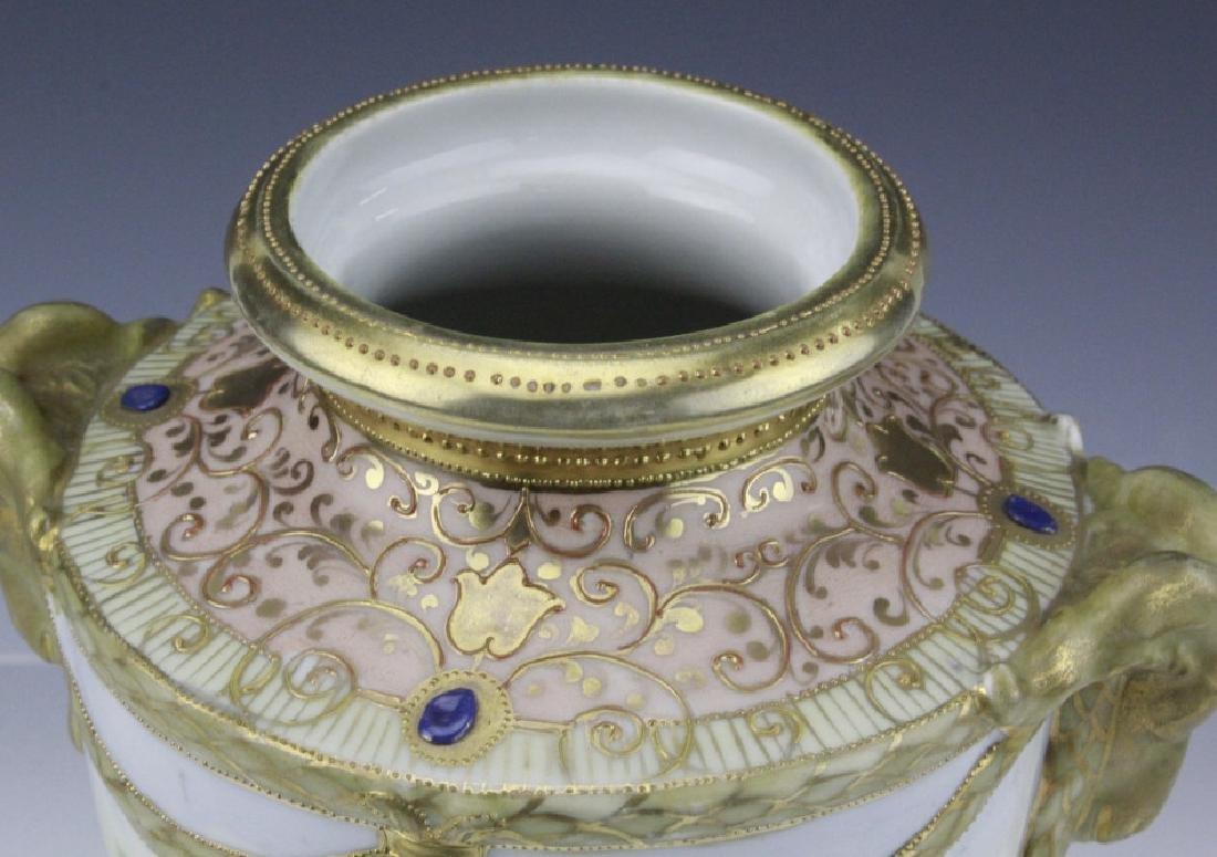 Antique Nippon Floral Gilt Decorated Urn Porcelain Vase - 3