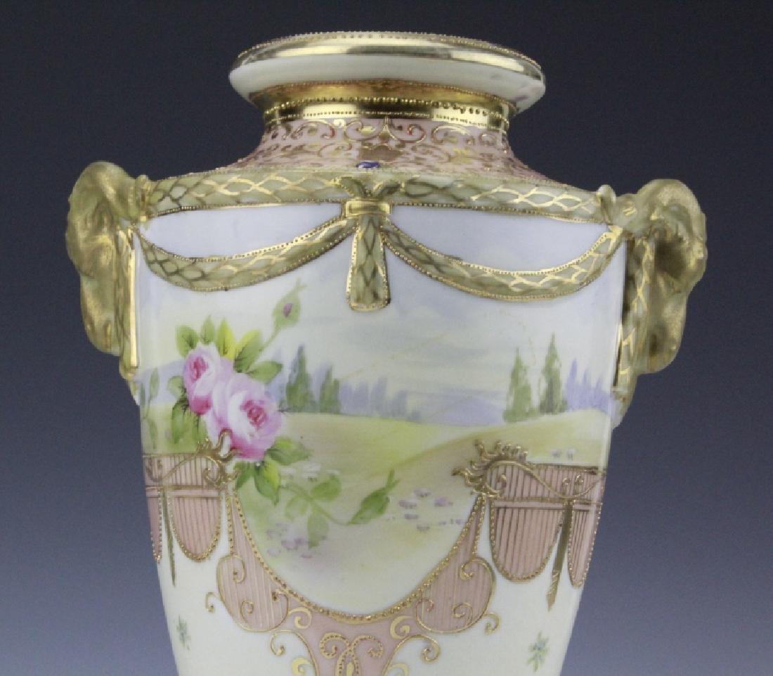 Antique Nippon Floral Gilt Decorated Urn Porcelain Vase - 4
