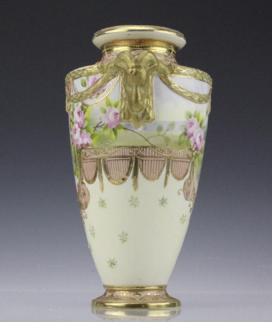 Antique Nippon Floral Gilt Decorated Urn Porcelain Vase - 5