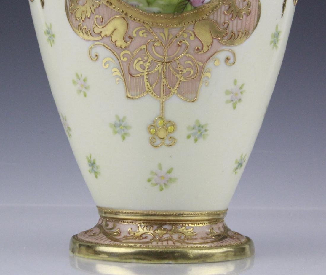 Antique Nippon Floral Gilt Decorated Urn Porcelain Vase - 6