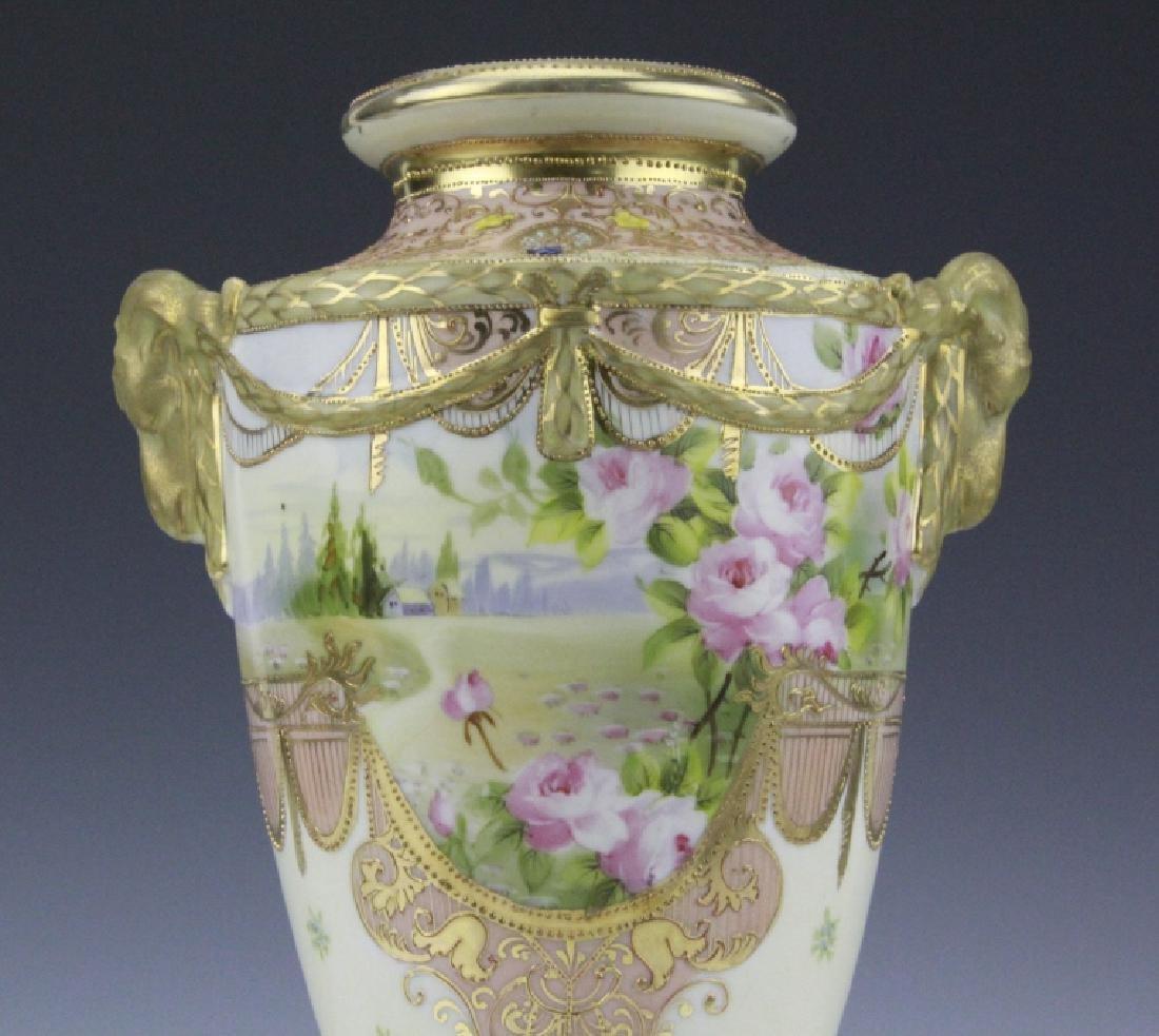 Antique Nippon Floral Gilt Decorated Urn Porcelain Vase - 7