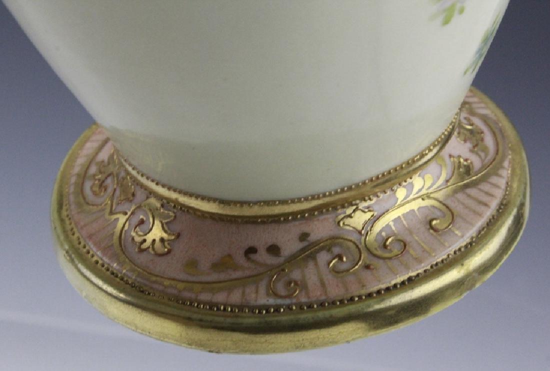 Antique Nippon Floral Gilt Decorated Urn Porcelain Vase - 8