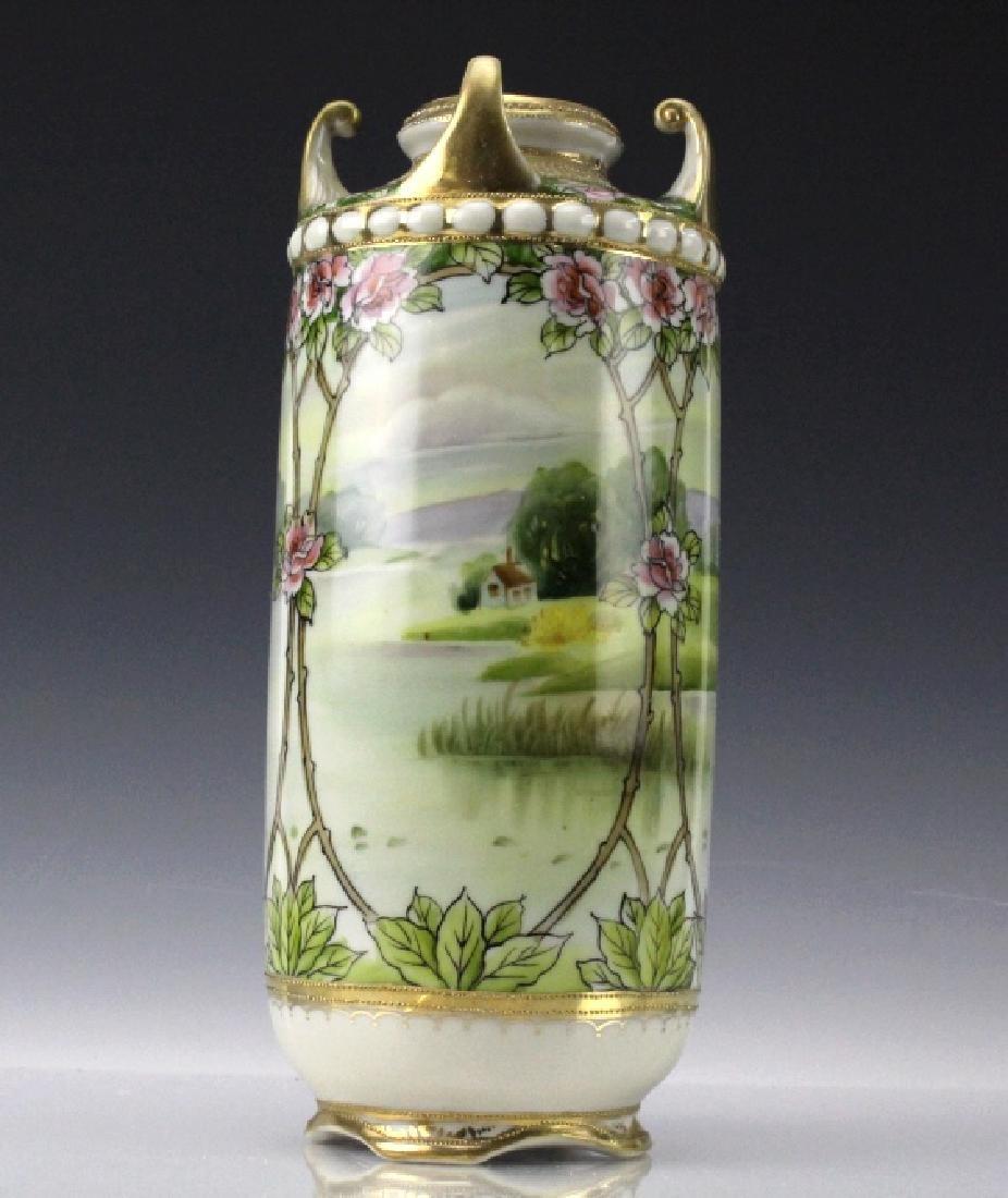 Nippon Japanese Porcelain Landscape Porcelain Vase