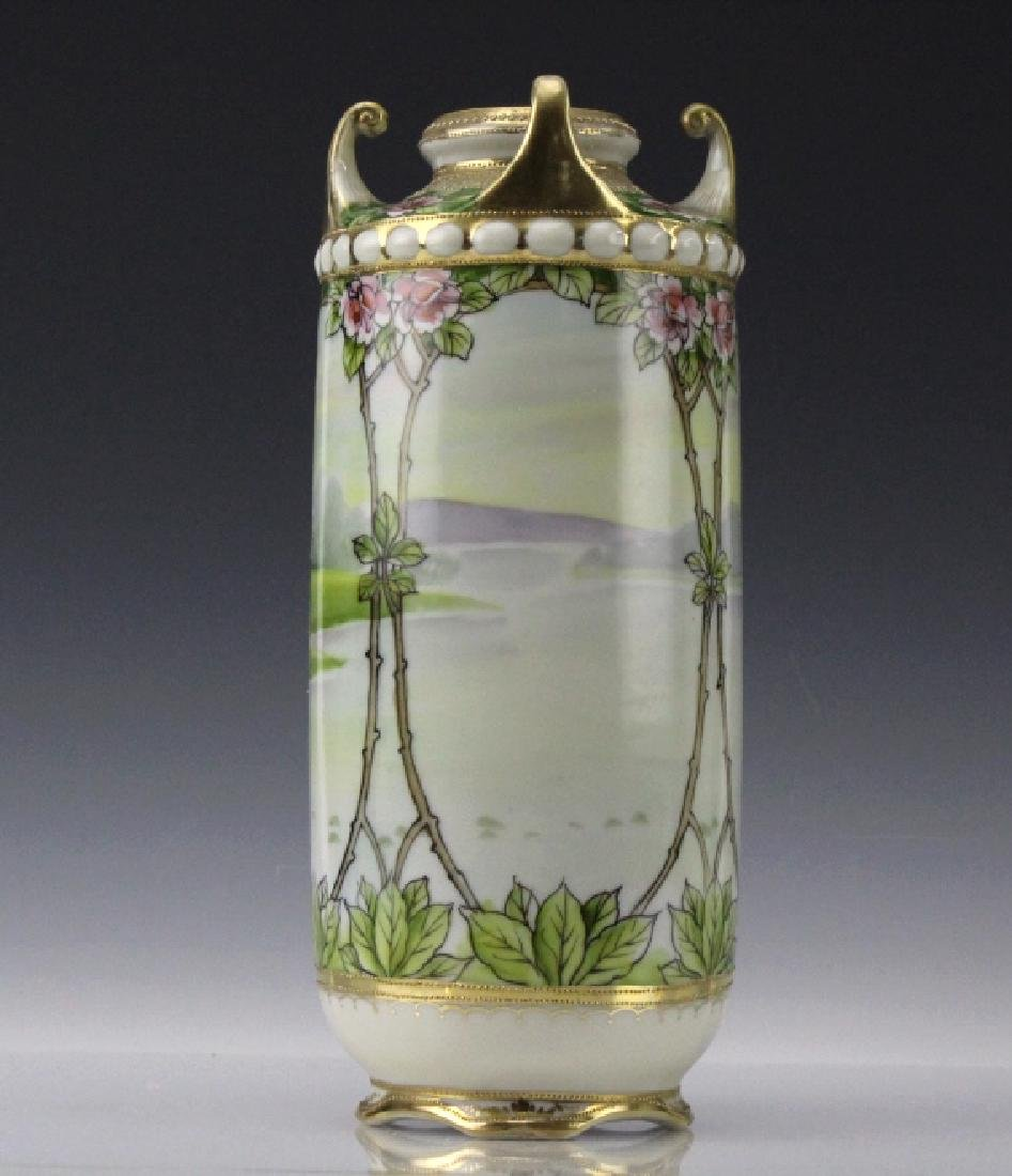 Nippon Japanese Porcelain Landscape Porcelain Vase - 2