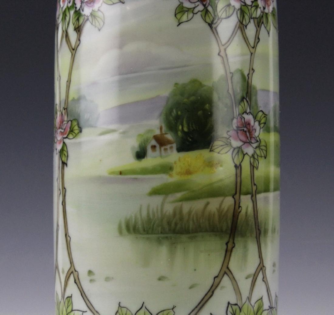 Nippon Japanese Porcelain Landscape Porcelain Vase - 5