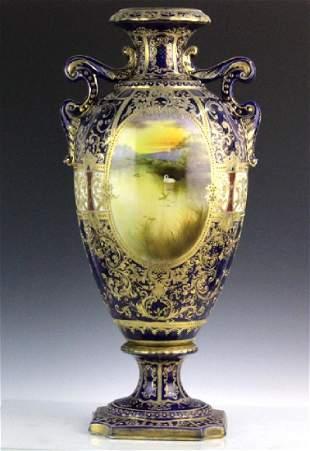 Nippon Cobalt Gilt Sevres Style Footed Porcelain Vase