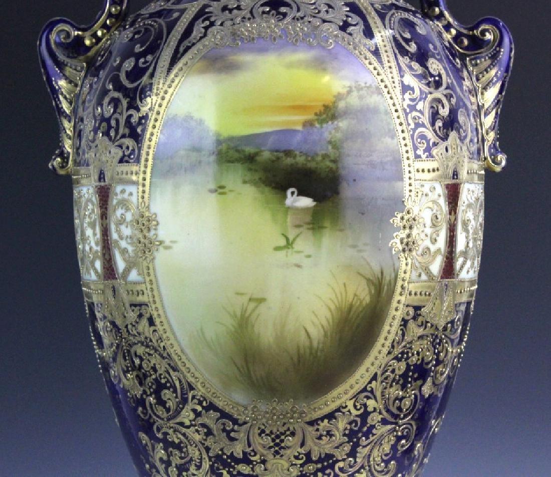 Nippon Cobalt Gilt Sevres Style Footed Porcelain Vase - 3