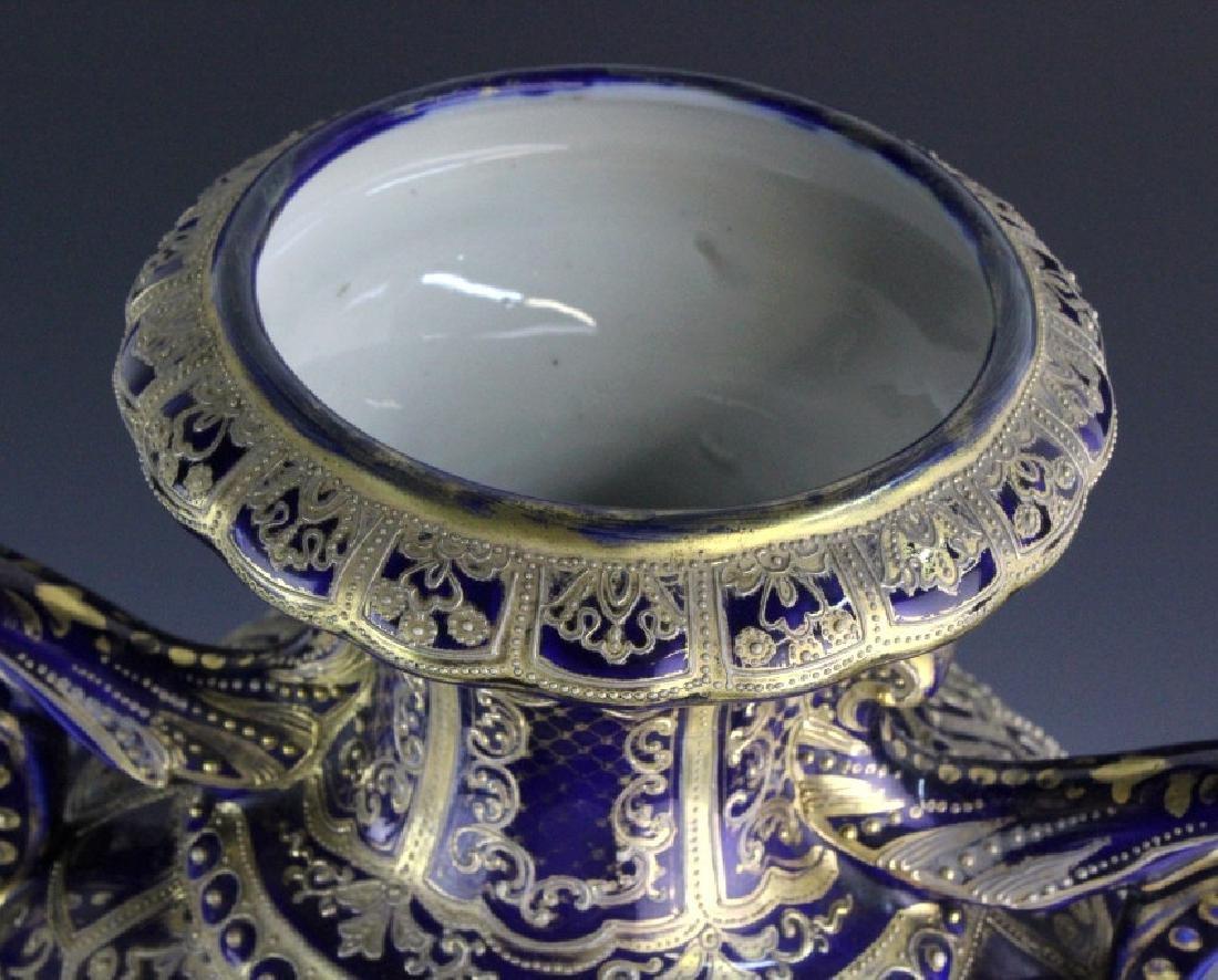 Nippon Cobalt Gilt Sevres Style Footed Porcelain Vase - 4