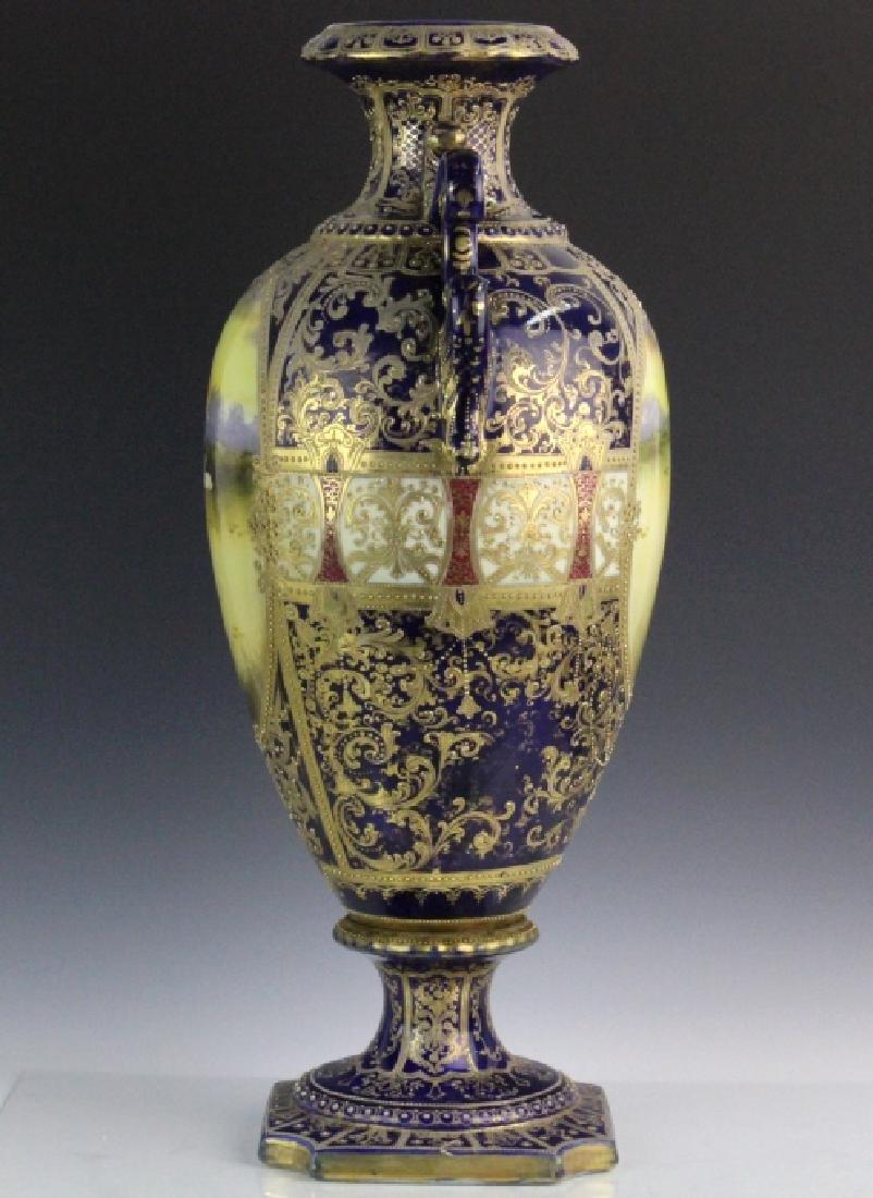 Nippon Cobalt Gilt Sevres Style Footed Porcelain Vase - 5