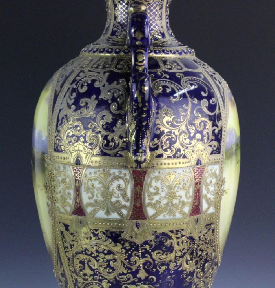 Nippon Cobalt Gilt Sevres Style Footed Porcelain Vase - 6