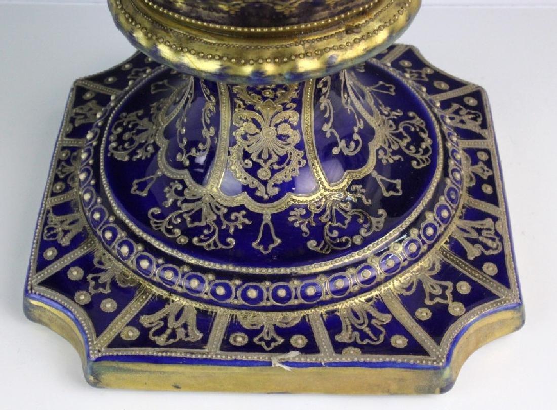 Nippon Cobalt Gilt Sevres Style Footed Porcelain Vase - 7