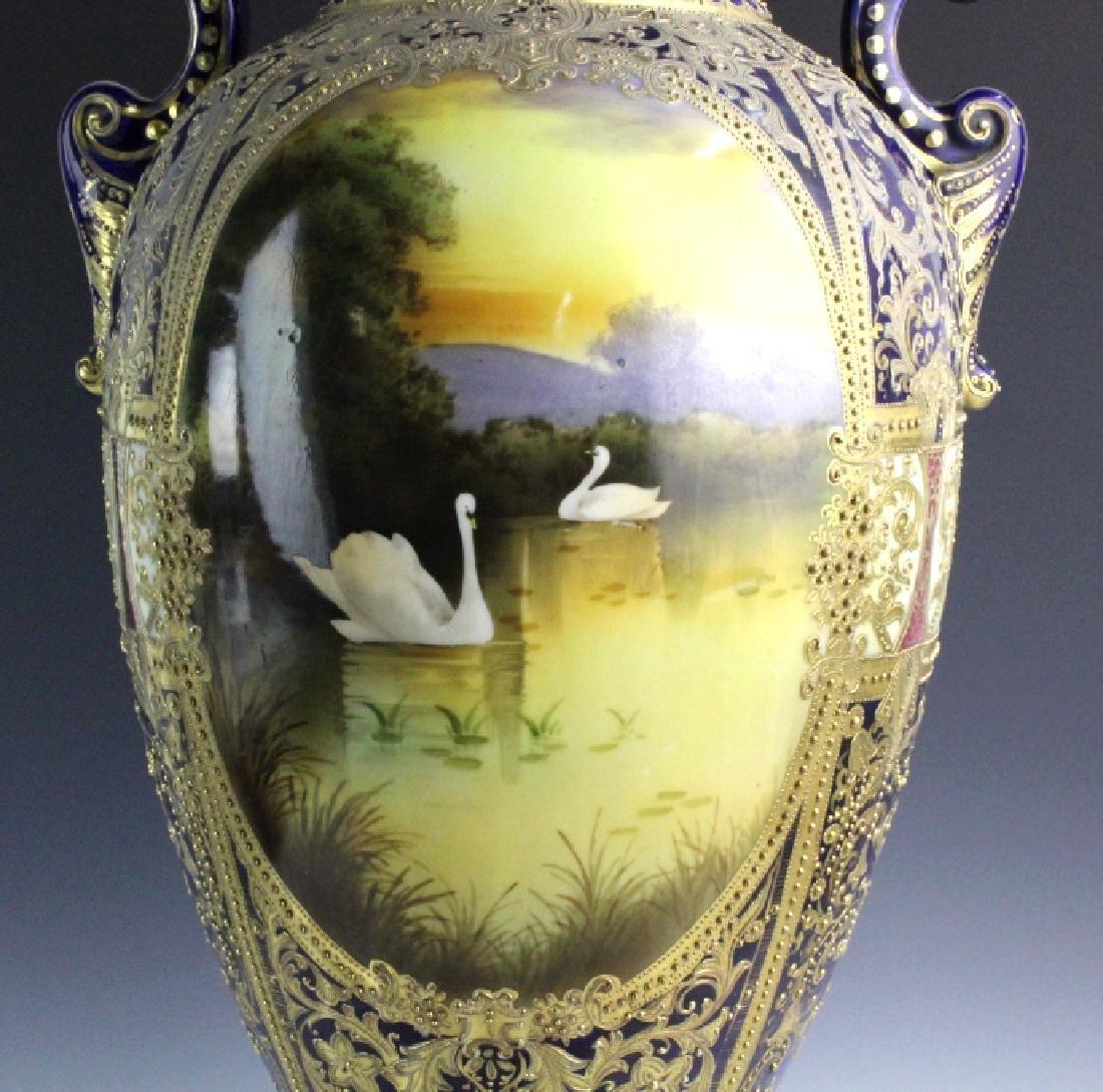 Nippon Cobalt Gilt Sevres Style Footed Porcelain Vase - 8
