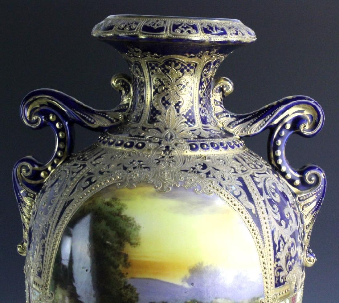 Nippon Cobalt Gilt Sevres Style Footed Porcelain Vase - 9