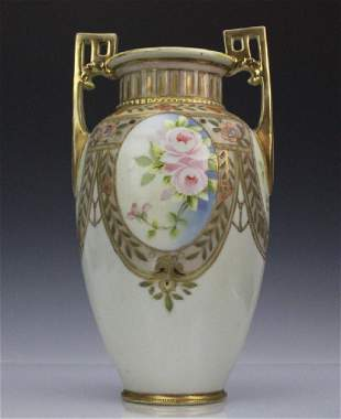 Nippon Pierced Double Handle Gilt Floral Porcelain Vase