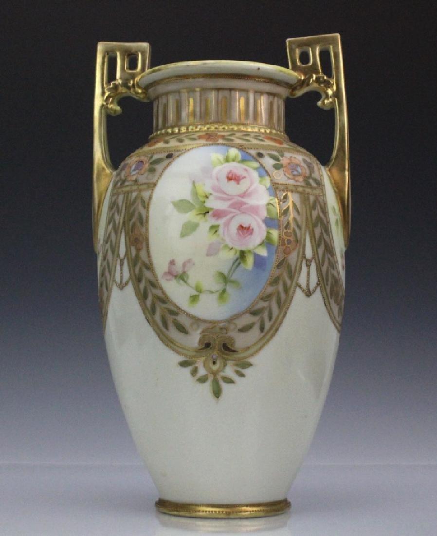 Nippon Pierced Double Handle Gilt Floral Porcelain Vase