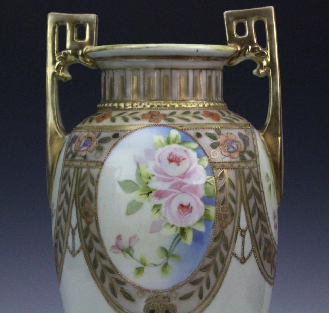 Nippon Pierced Double Handle Gilt Floral Porcelain Vase - 2
