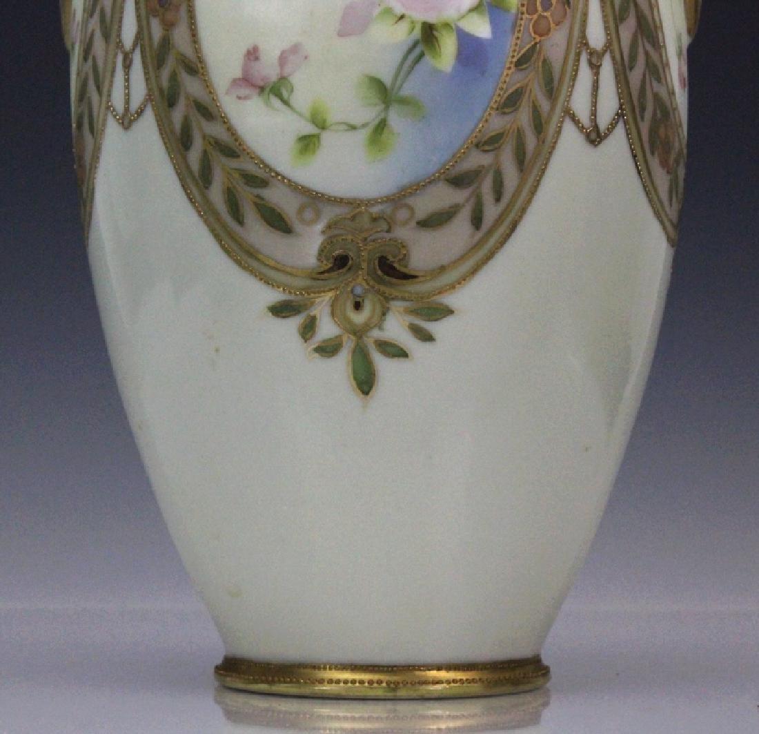 Nippon Pierced Double Handle Gilt Floral Porcelain Vase - 3