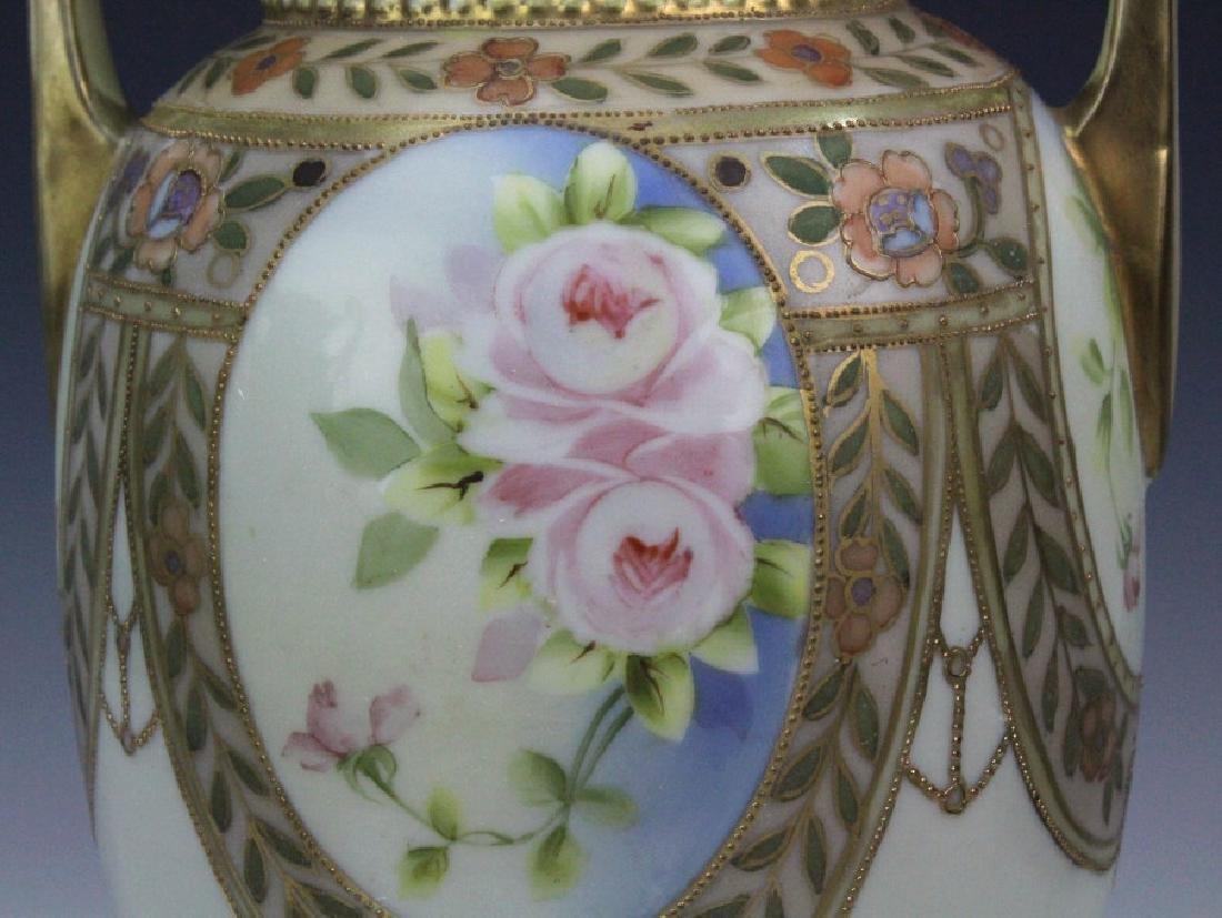 Nippon Pierced Double Handle Gilt Floral Porcelain Vase - 4