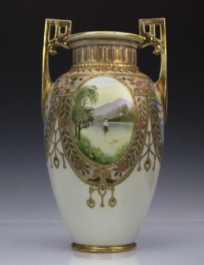 Nippon Pierced Double Handle Gilt Floral Porcelain Vase - 5