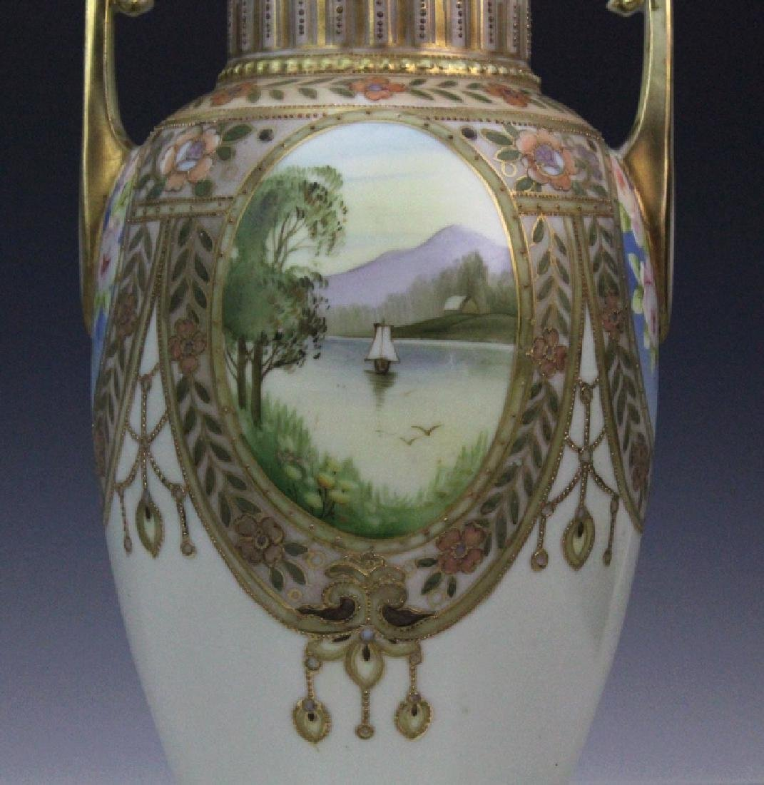 Nippon Pierced Double Handle Gilt Floral Porcelain Vase - 6