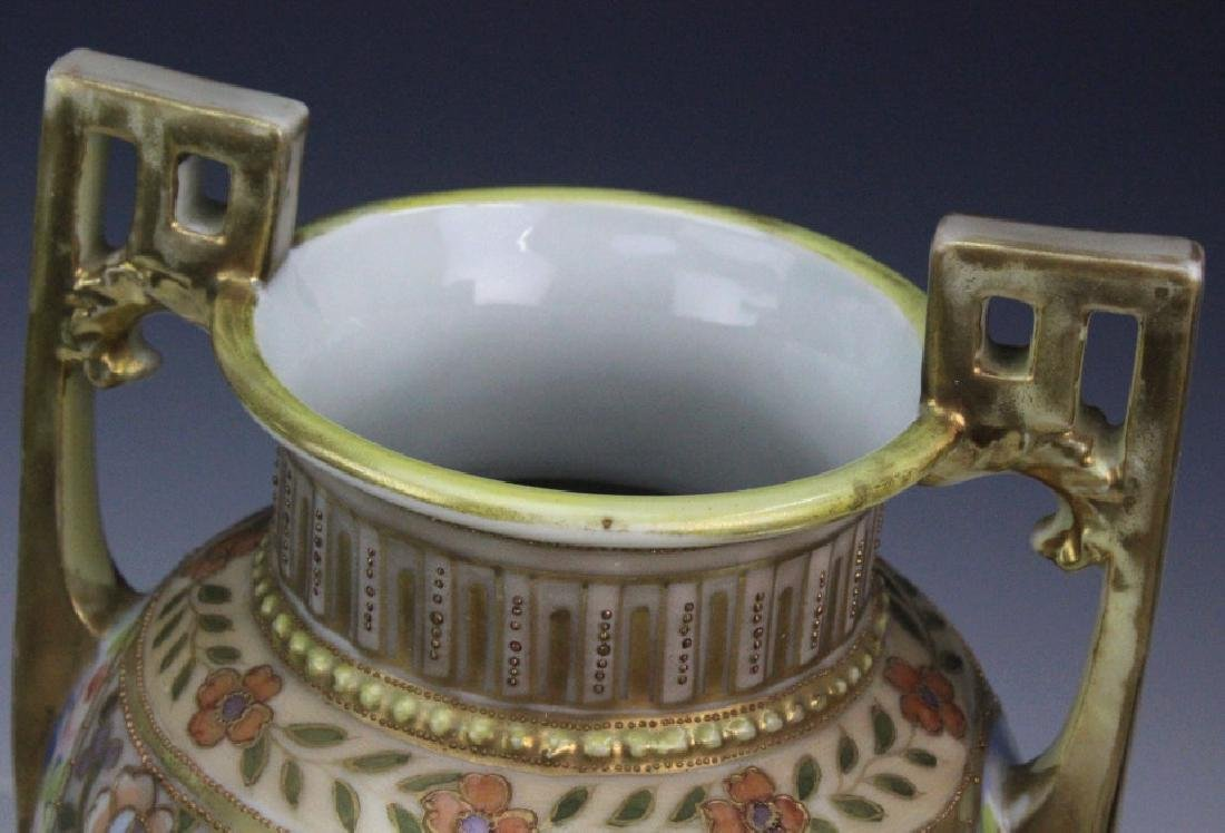 Nippon Pierced Double Handle Gilt Floral Porcelain Vase - 7