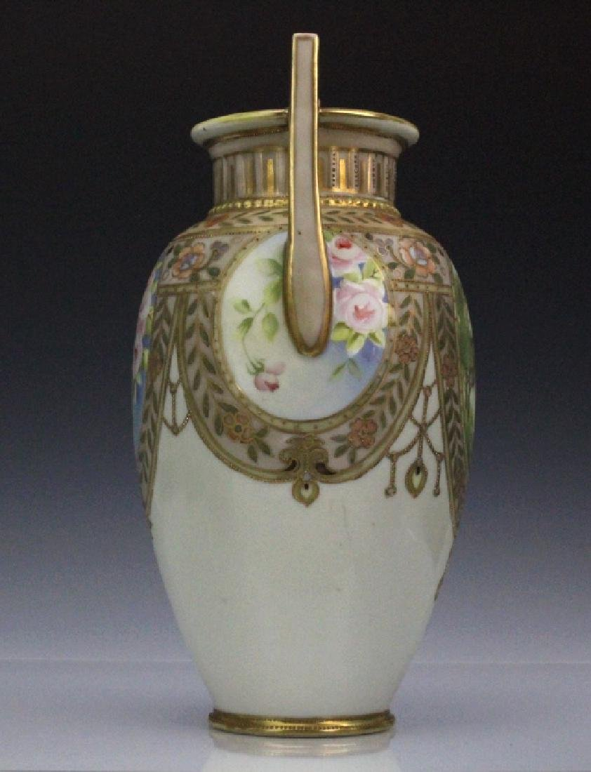 Nippon Pierced Double Handle Gilt Floral Porcelain Vase - 8