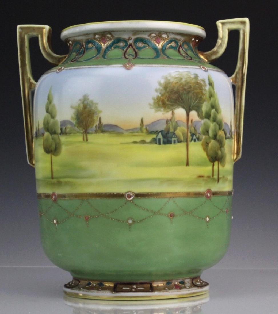 Nippon Porcelain Painted Landscape Urn Porcelain Vase