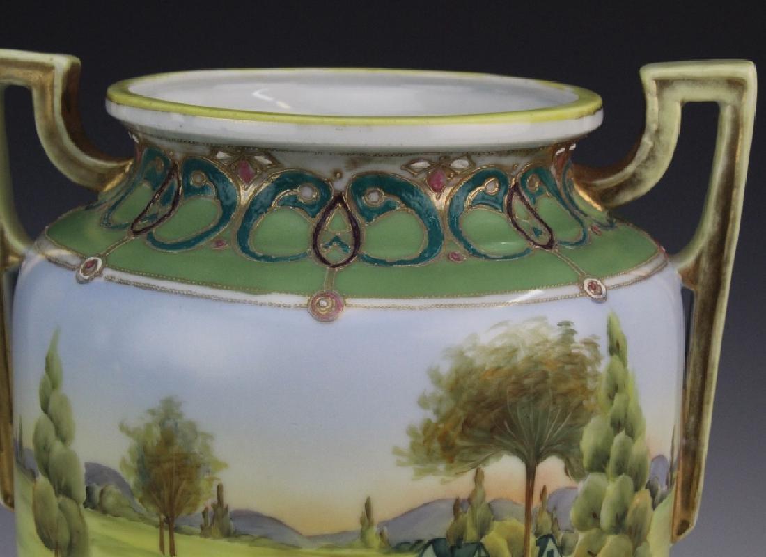 Nippon Porcelain Painted Landscape Urn Porcelain Vase - 4