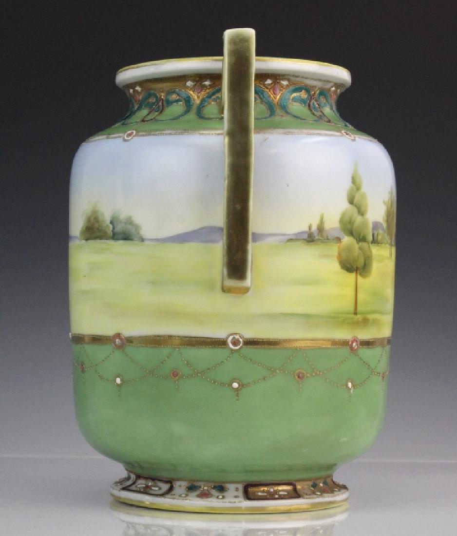 Nippon Porcelain Painted Landscape Urn Porcelain Vase - 5