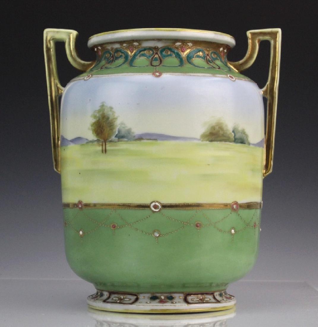 Nippon Porcelain Painted Landscape Urn Porcelain Vase - 6